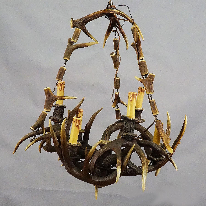 rustic black forest antler chandelier ca. 1900