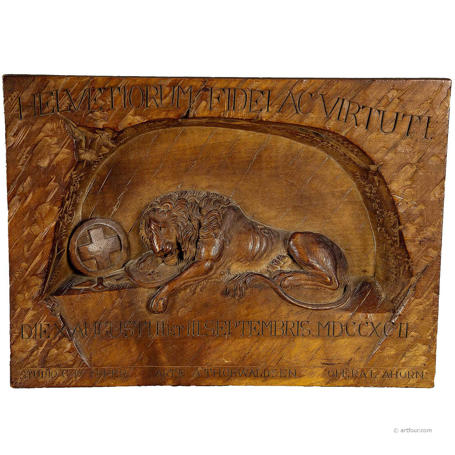 swiss lion relief carving ca. 1900