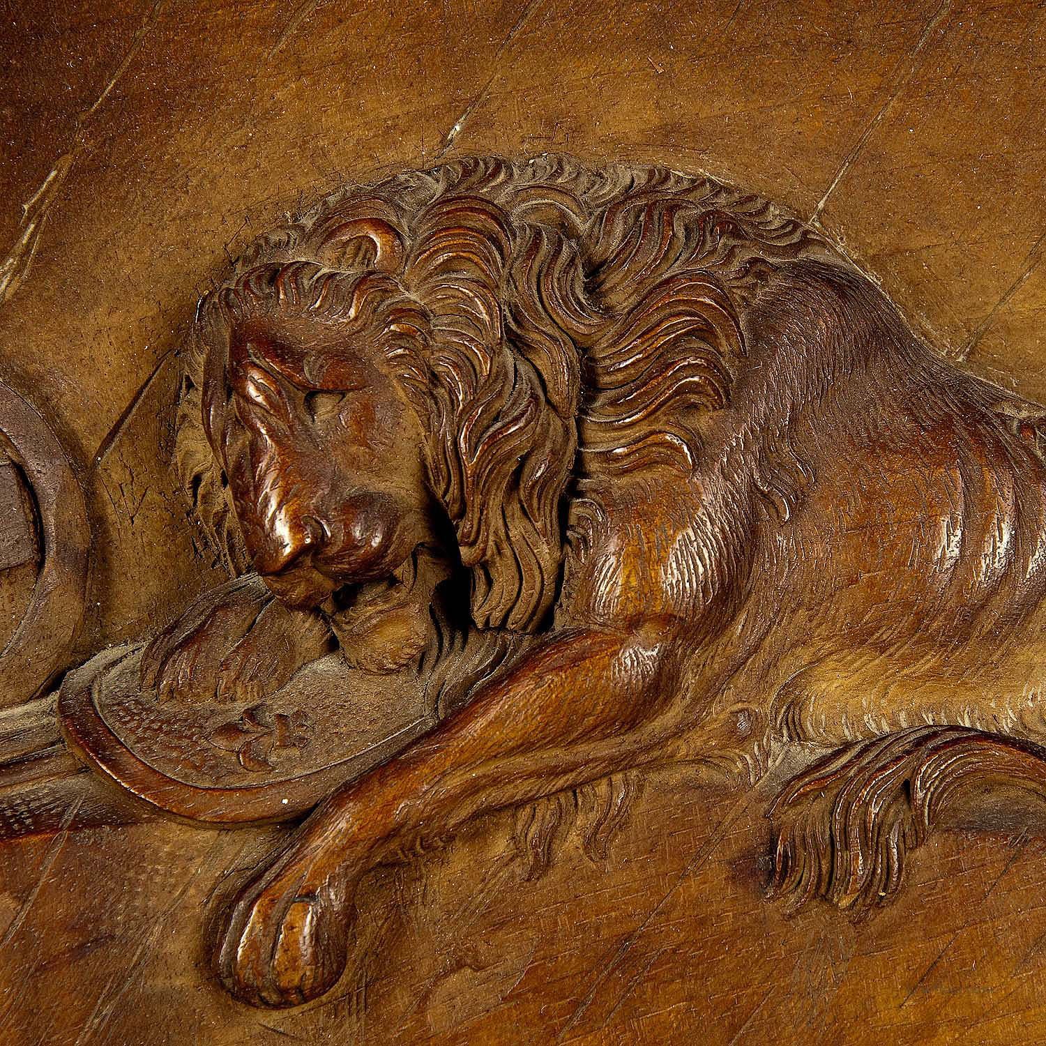 Swiss lion relief carving ca