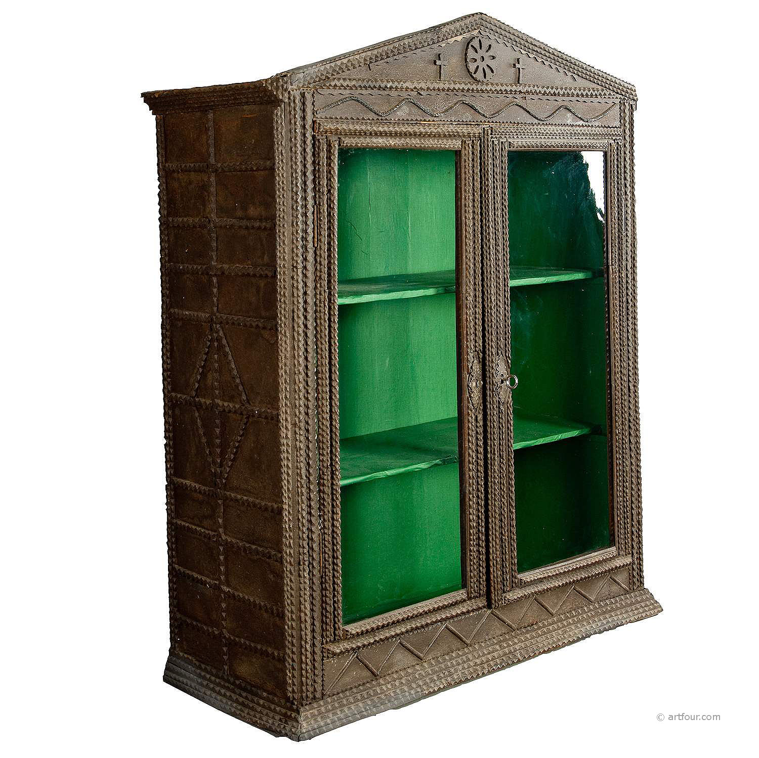 antique tramp art cabinet ca. 1900