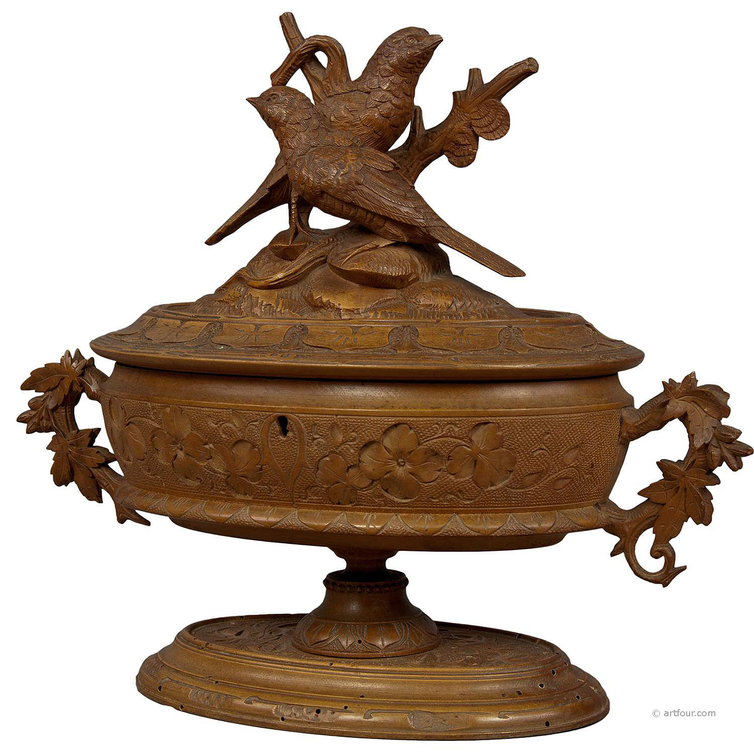antique wooden carved casket with birds, brienz ca 1890