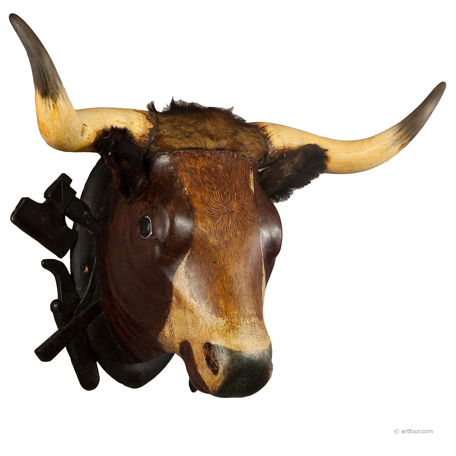Wooden carved bull head from a butchery ca