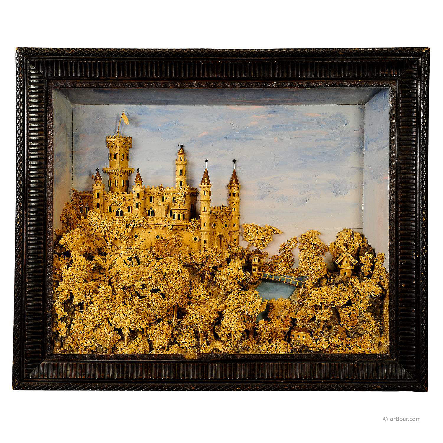 antique impressive cork carving with castle scene ca. 1880