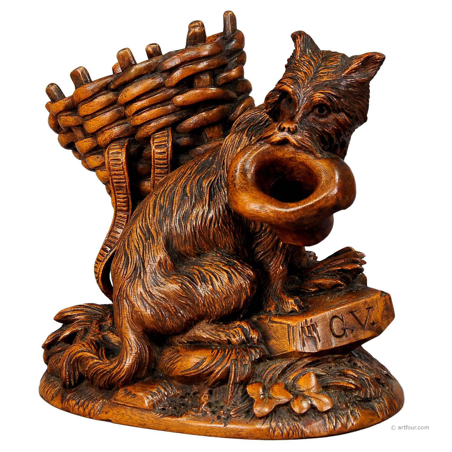 Black forest carved begging dog brienz ca