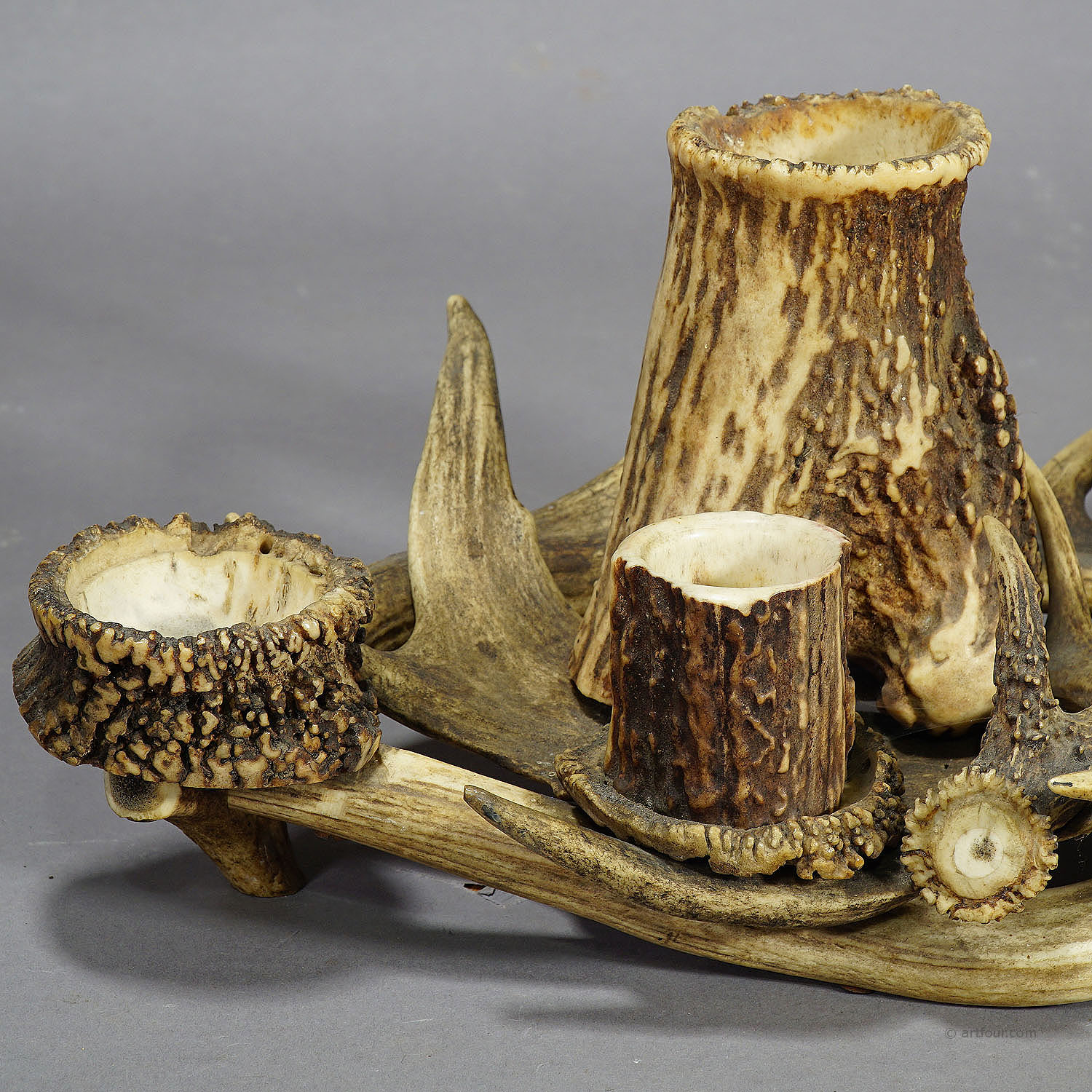 antique antler smoking desk set ca. 1900 - Antler Desk Set Ca. 1900