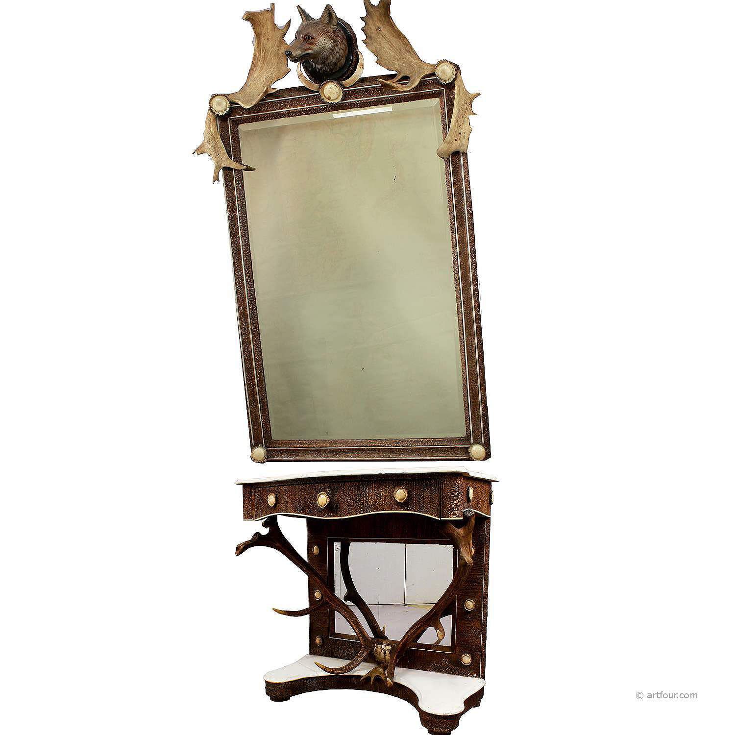 antique antler mirror with console table, austria, ca. 1860