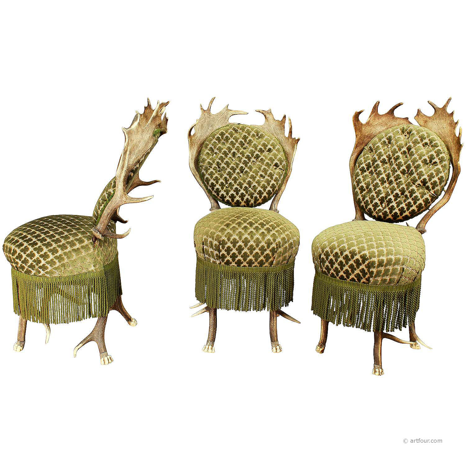 set of three victorian antler parlor chairs, austria ca. 1880