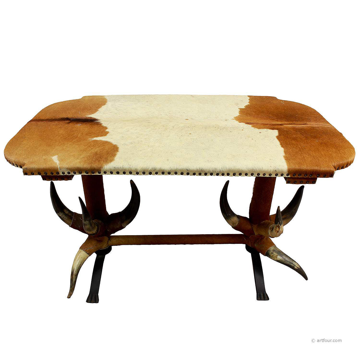 antique bull horn table ca. 1870