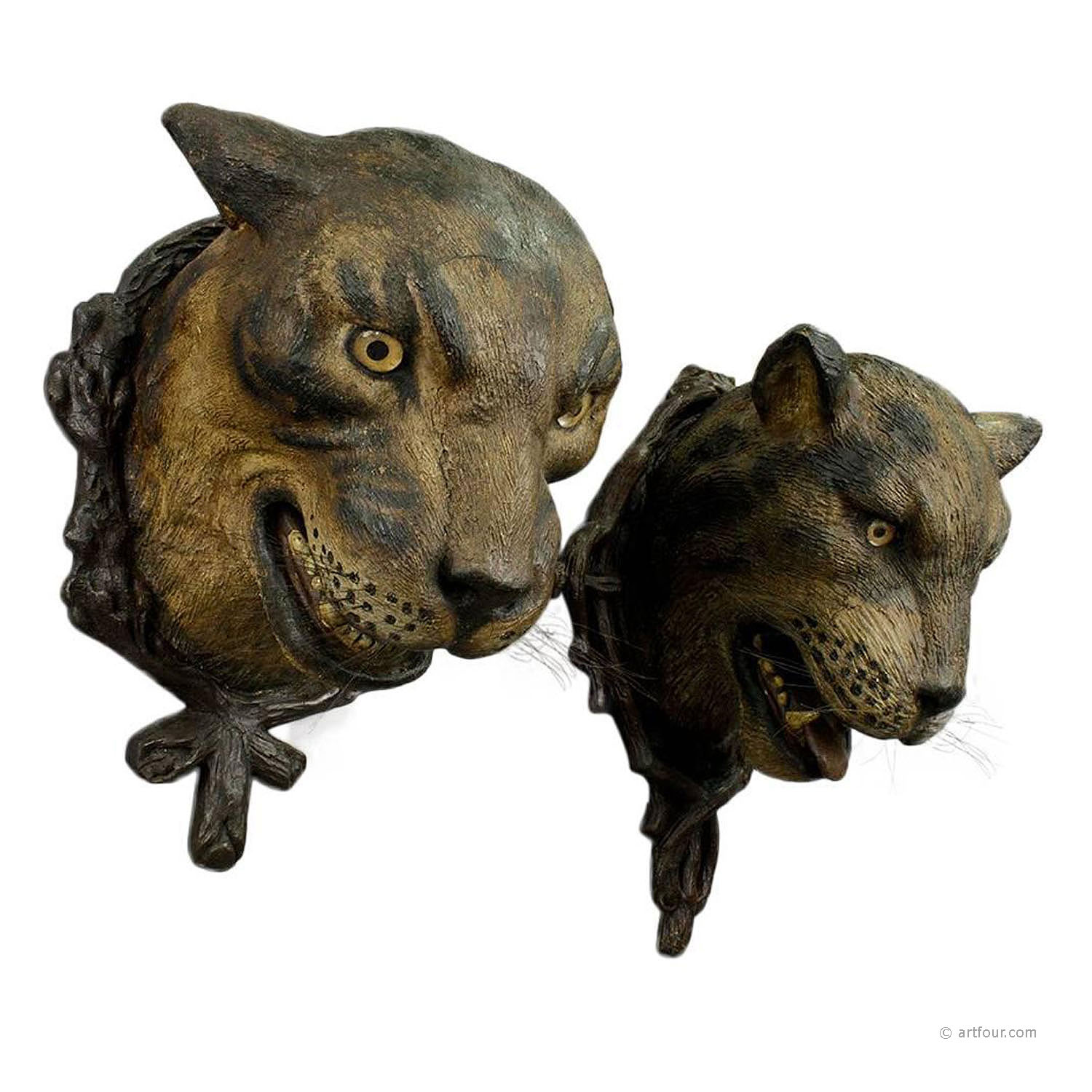 a gorgeous pair of leopard heads, austria ca. 1890