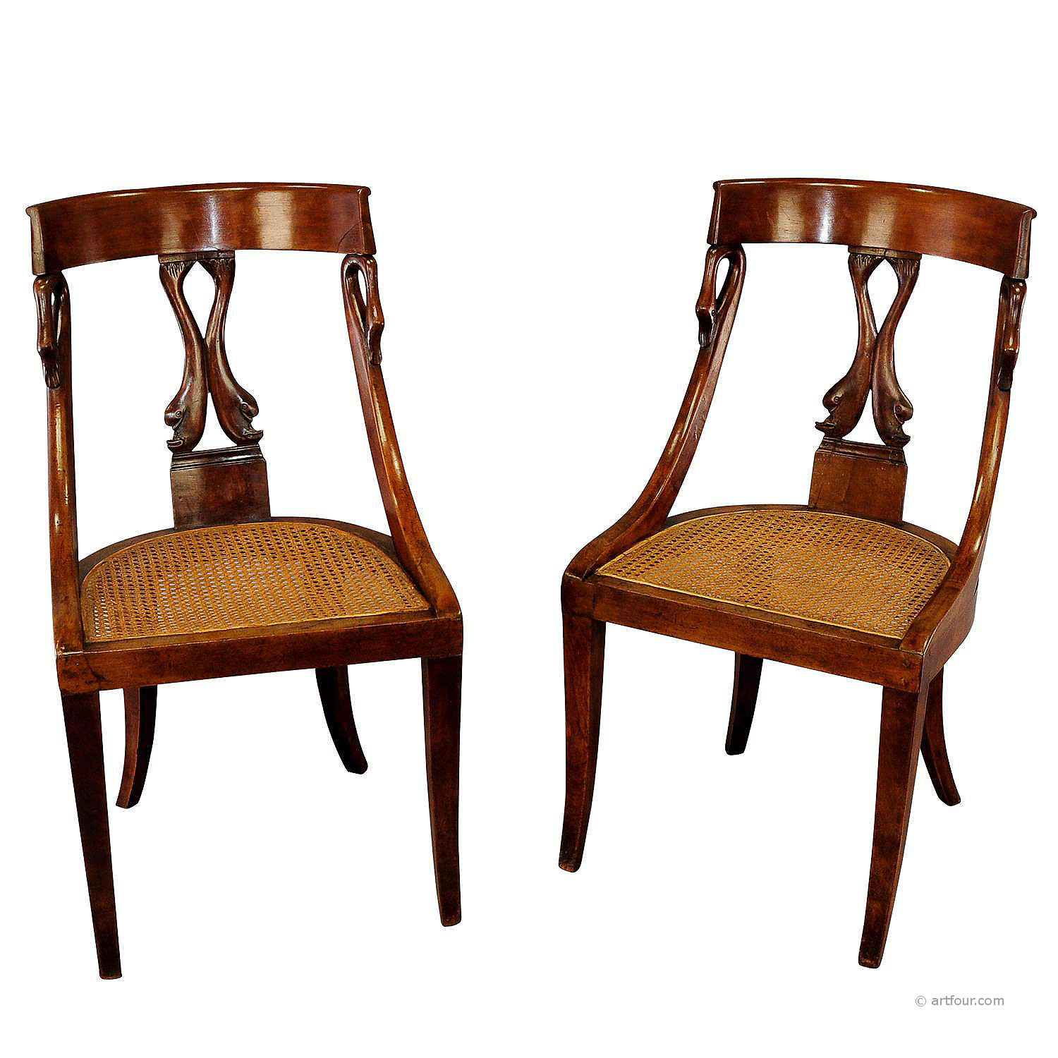 2 biedermeier wood chairs