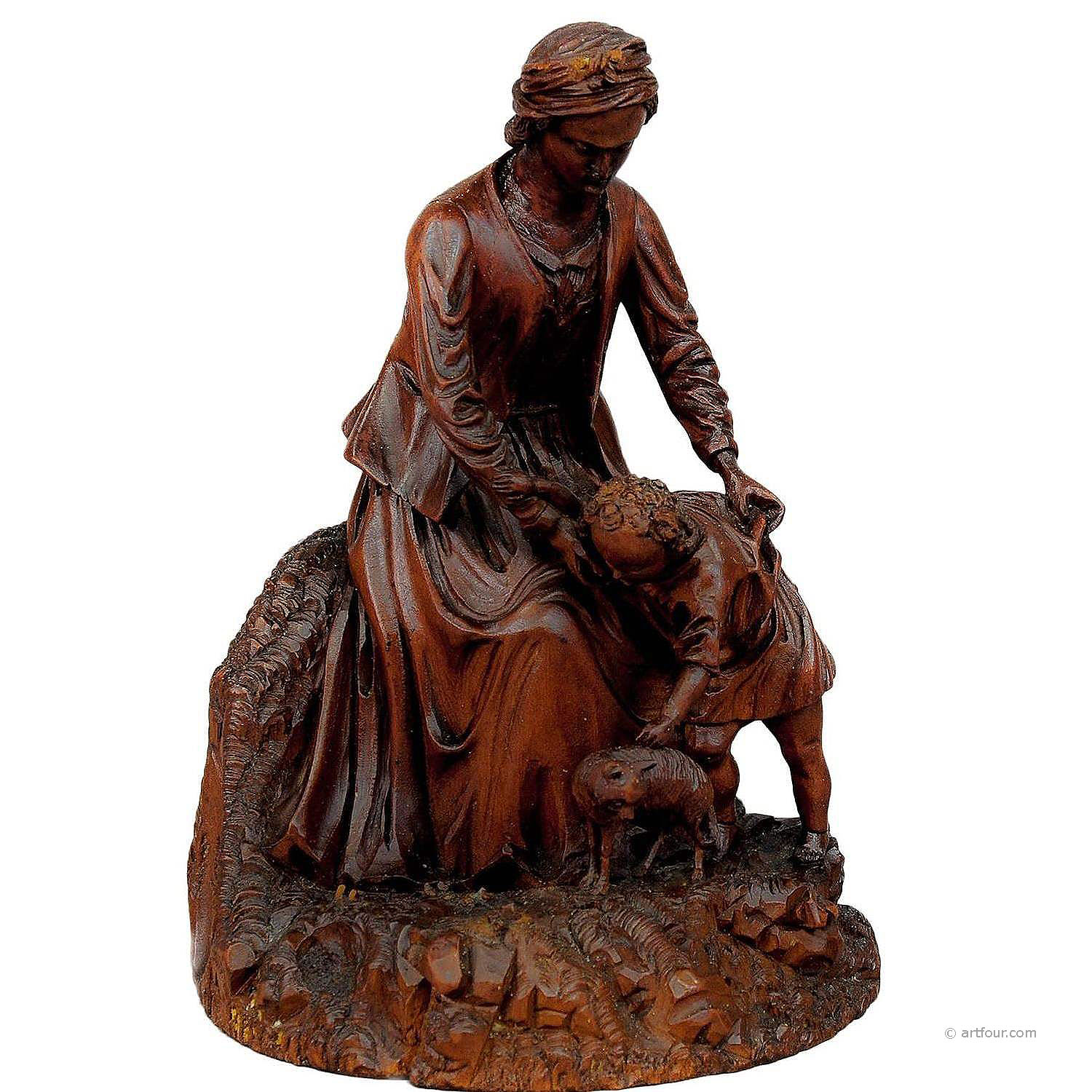 lovely black forest wood carving - mother with child and cat