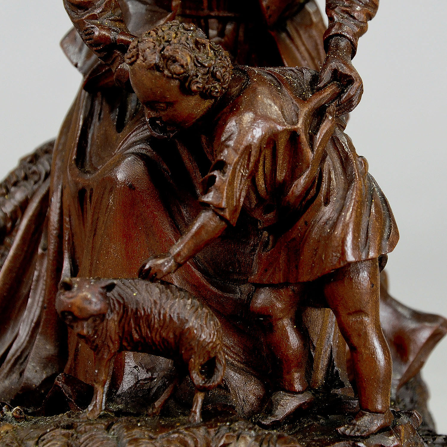 Lovely Black Forest Wood Carving Mother With Child And