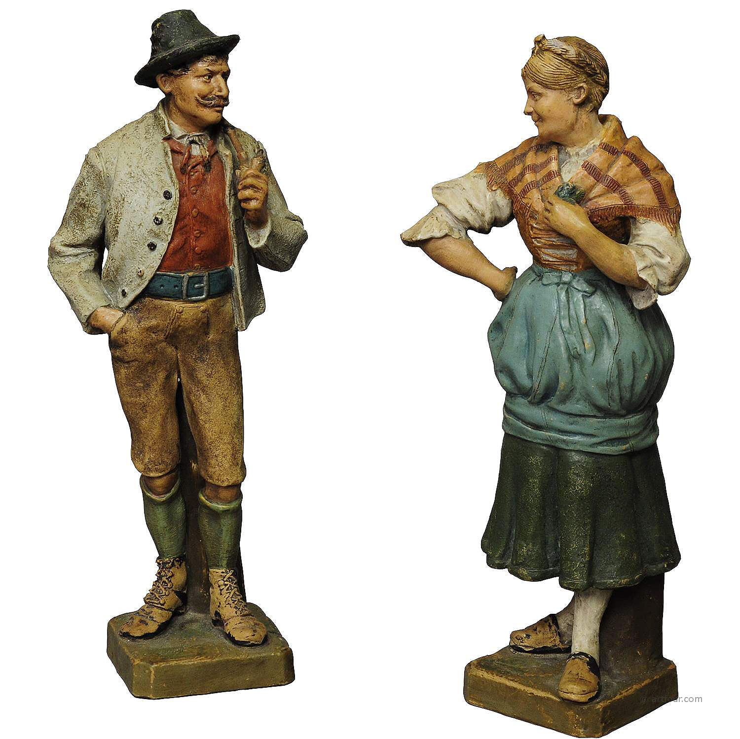 decorative folksy couple stoneware figures