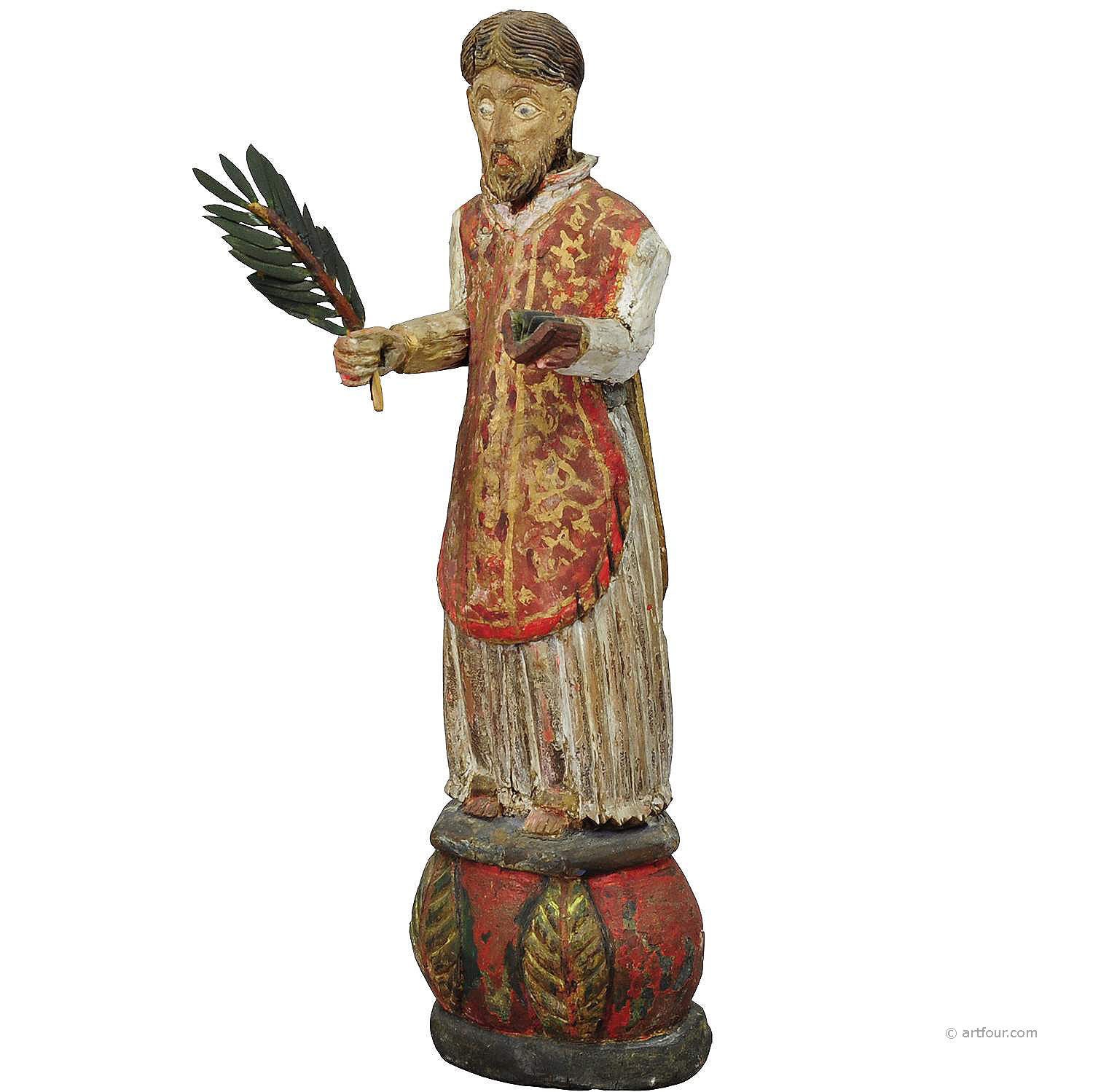wooden carved sculpture of a saint ca. 1850