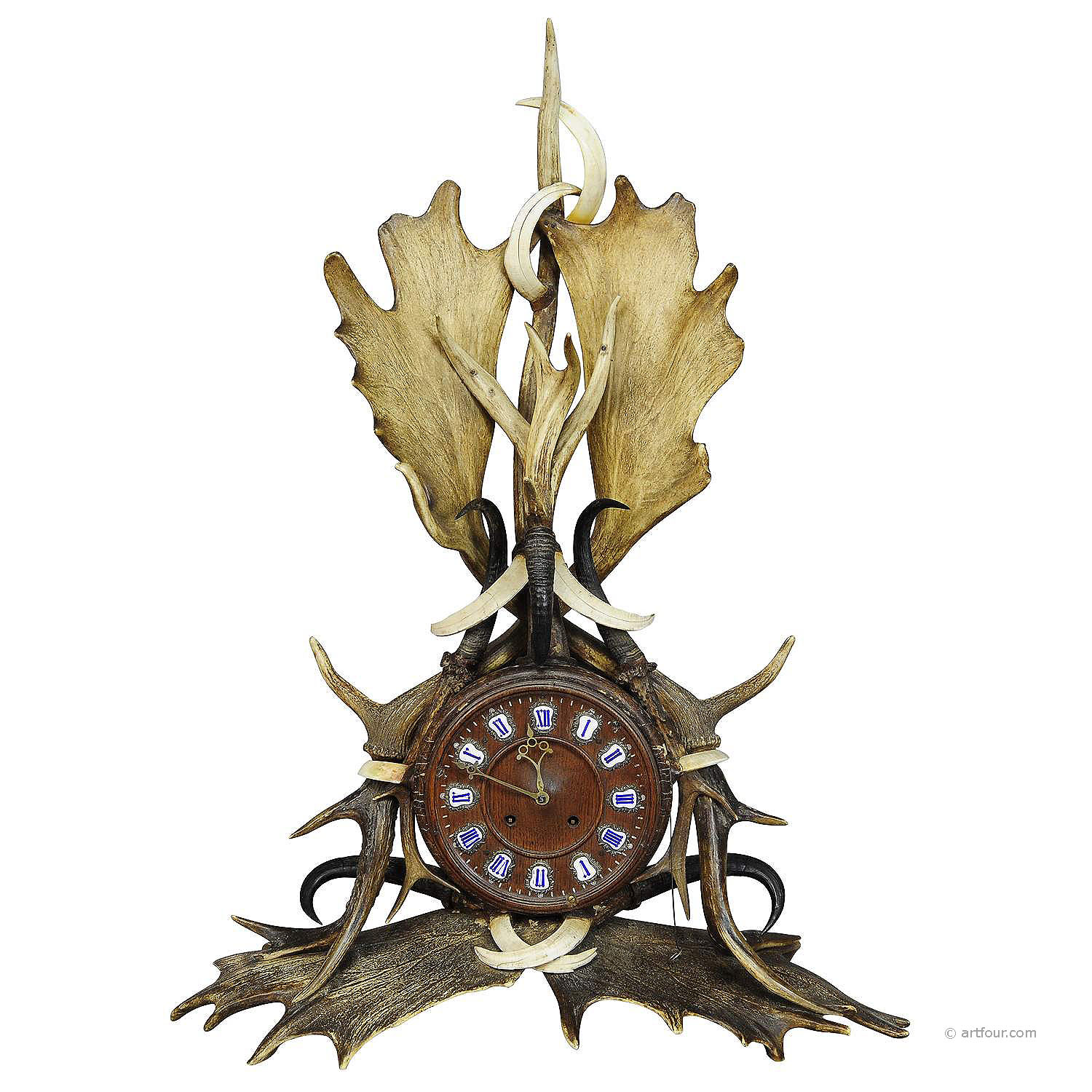 a great lodge style antler mantel clock 1900
