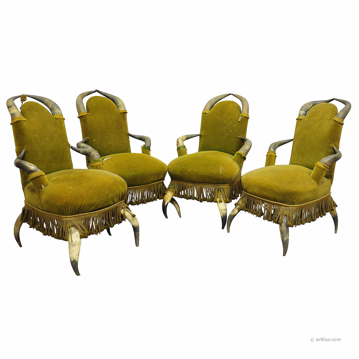 four antique bull horn chairs ca. 1870
