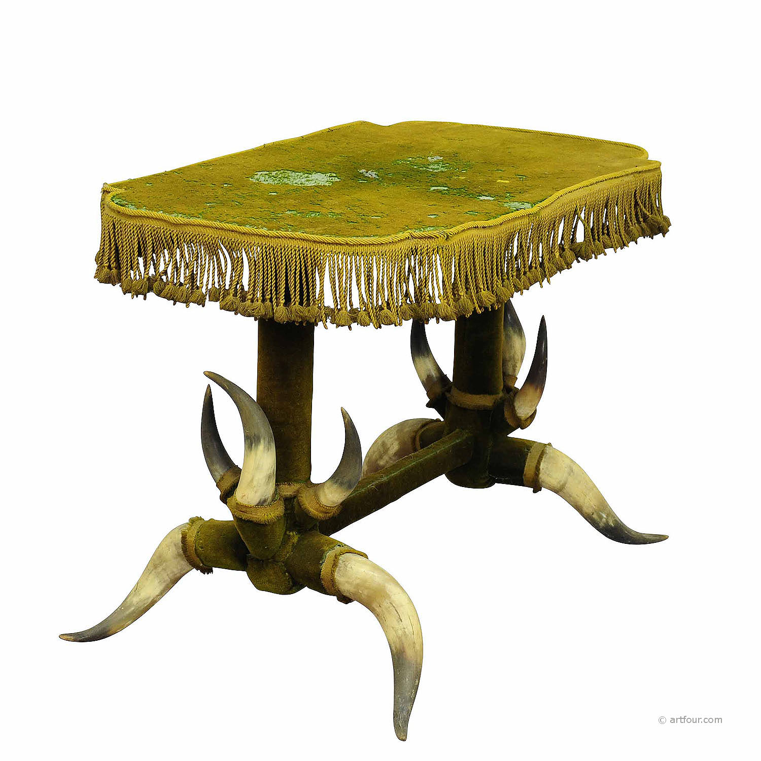 antique bull horn table with green velvet ca. 1870