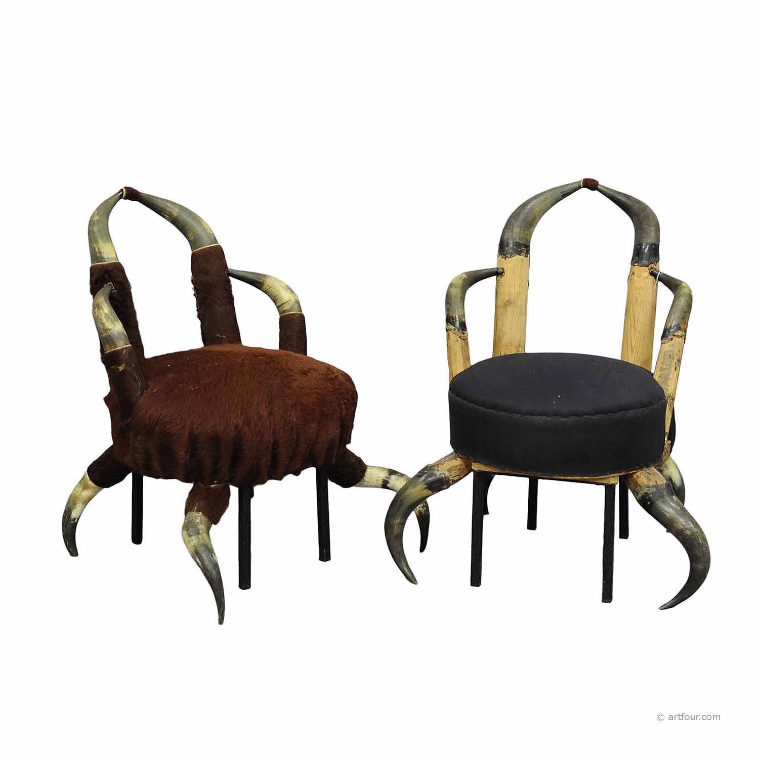 a pair small antique horn chairs, austria ca. 1870 - Two Small Antique Horn Chairs Ca. 1870