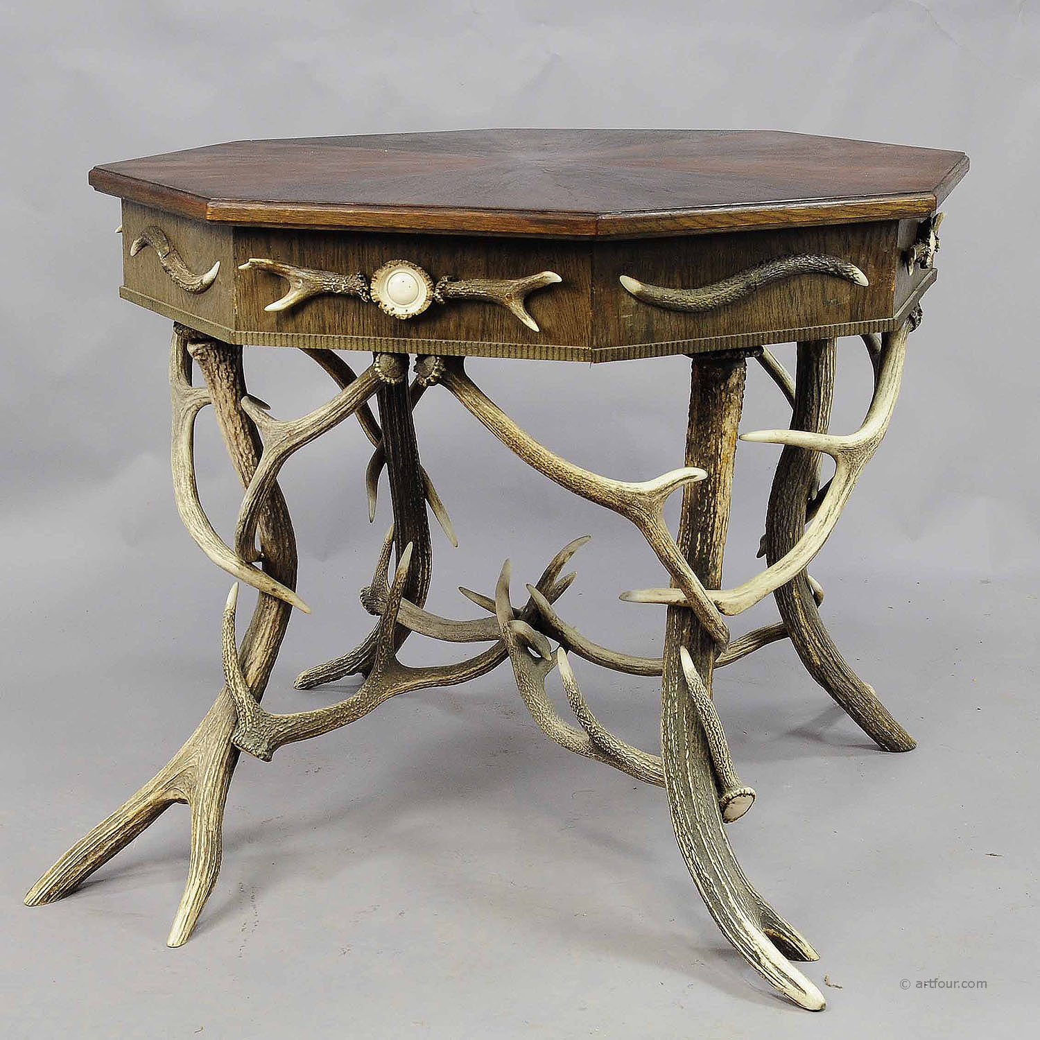 Antique Octagonal Antler Table With Genuine Antlers