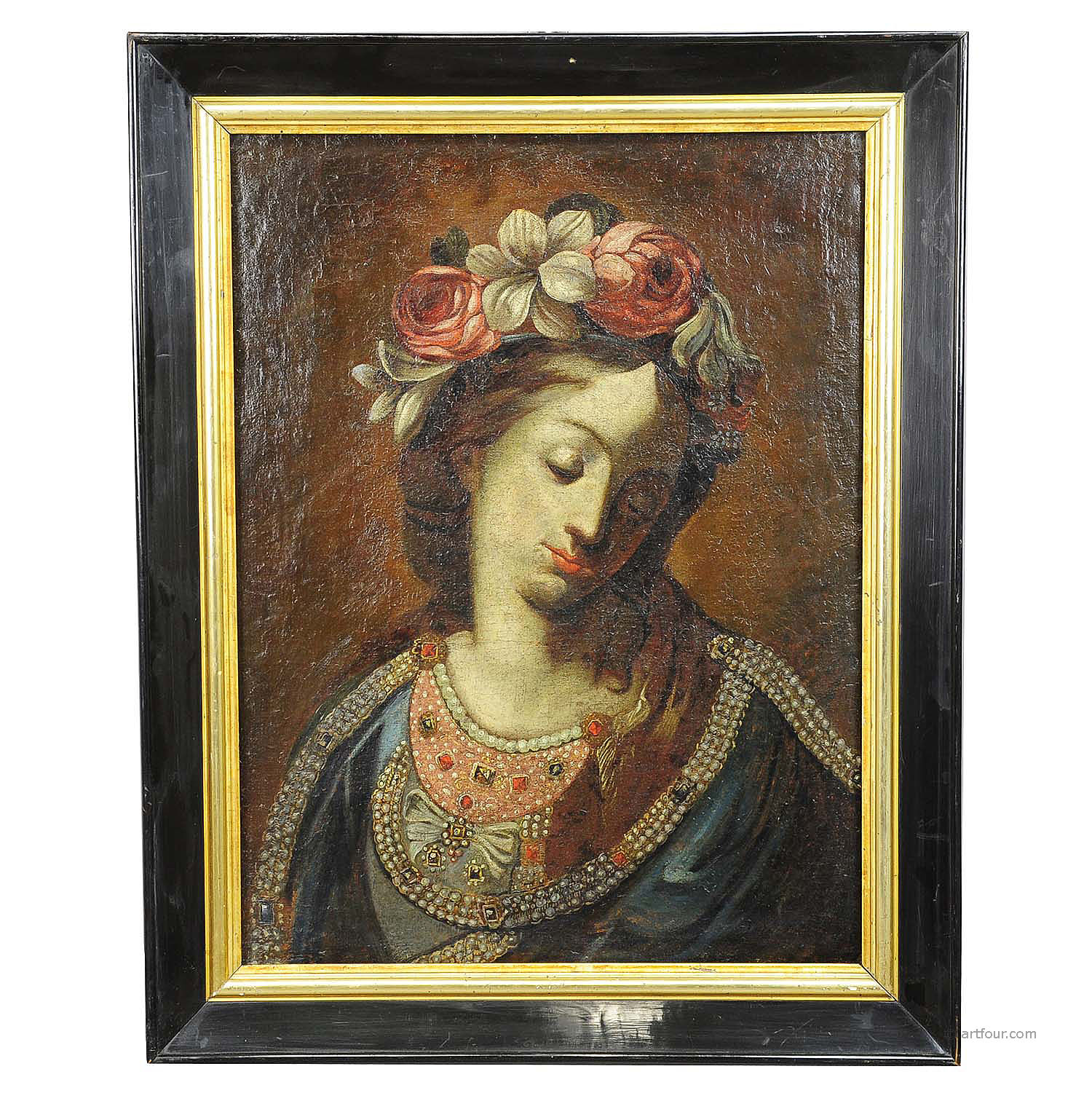 antique oil painting - Mother of the Beautiful Love - 19th century