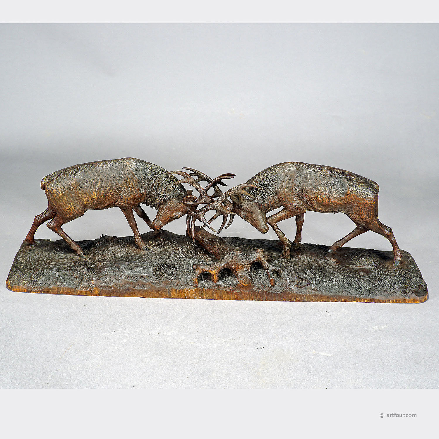 Carved wood stags by k bach for sale at artfour