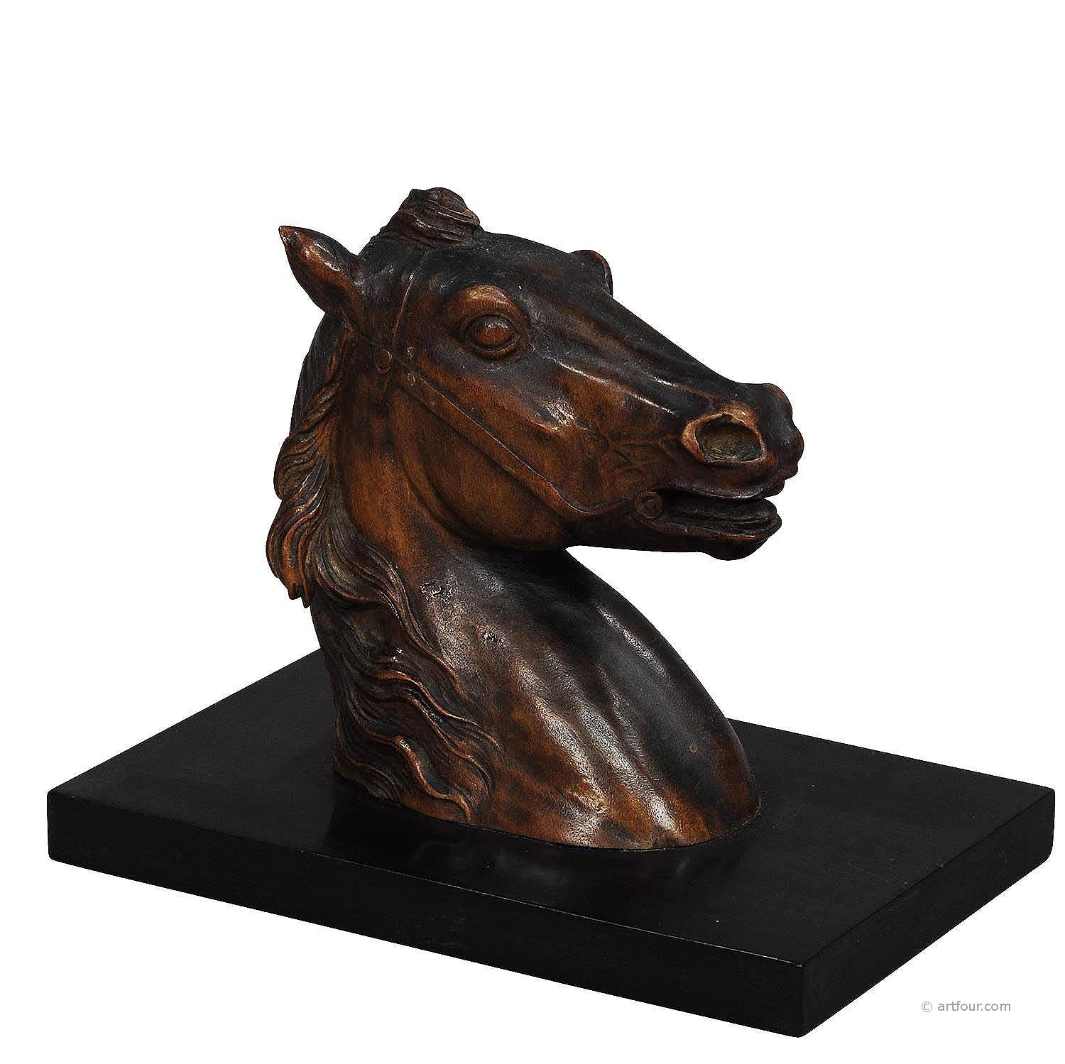 antique wooden carved horse paper weight ca. 1920