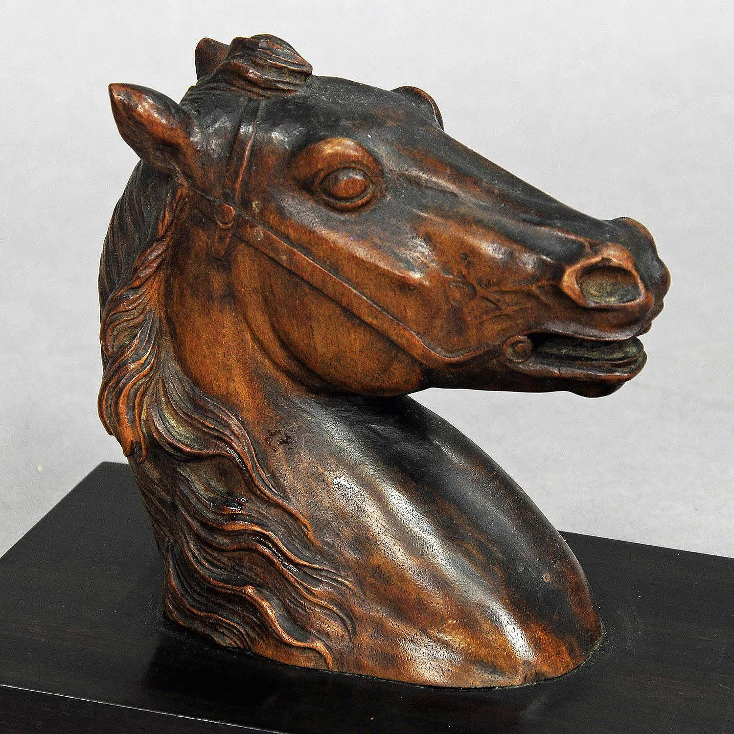 Antique wooden carved horse paperweight circa