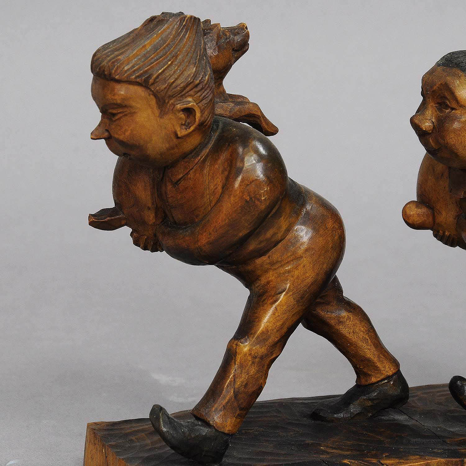 Whimsy Antique Woodcarving Of Plisch And Plum By Wilhelm