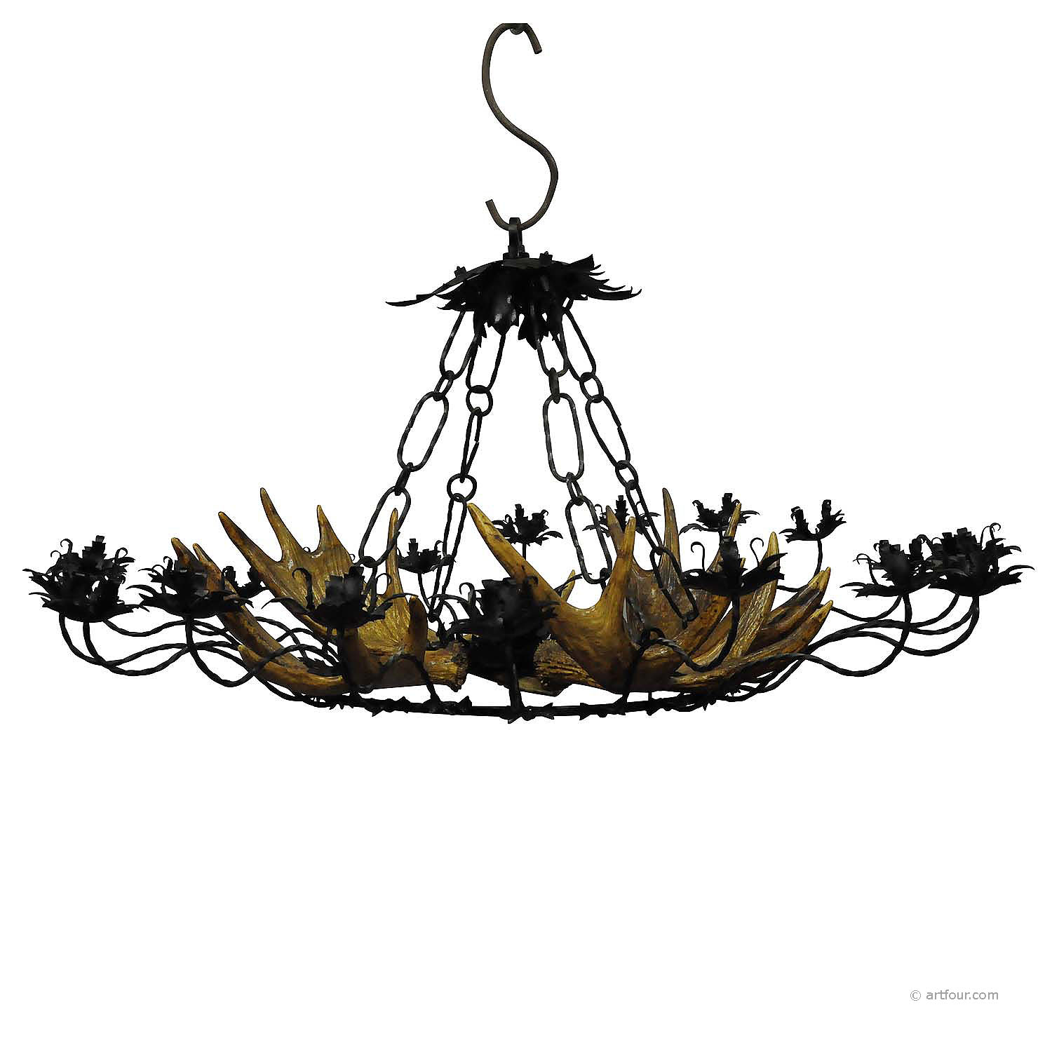 vintage antler chandelier with forged iron suspension