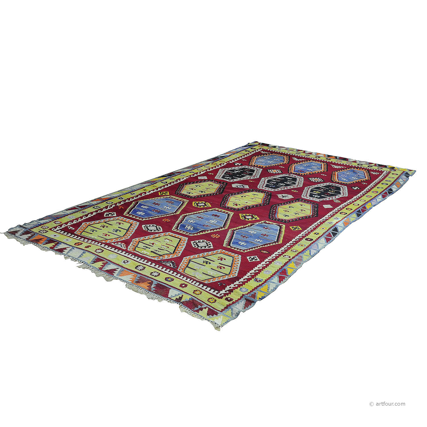 antique colorful turkish sarkisla kilim rug ca. 1930