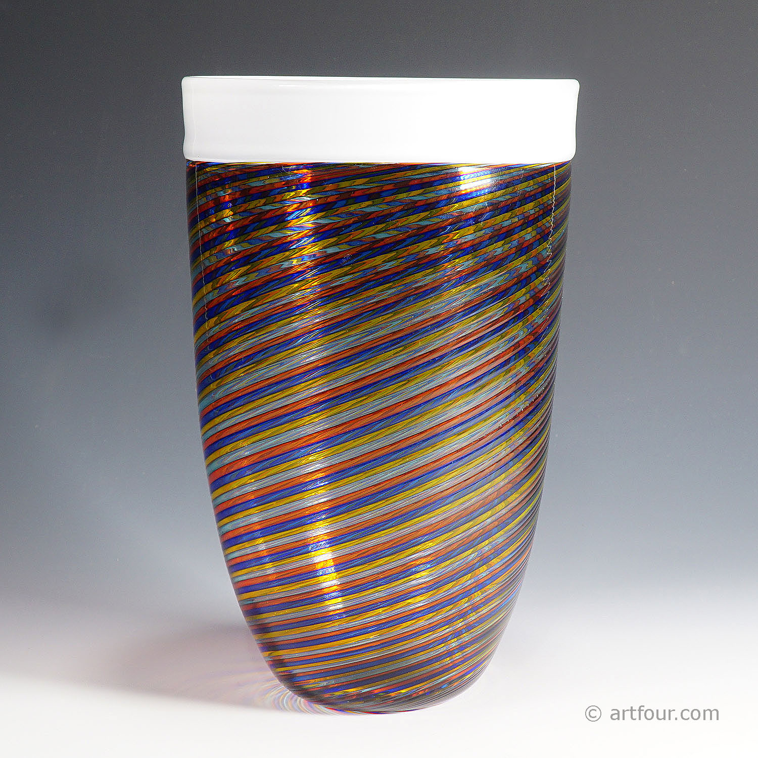 large cenedese filigrana vase with multicoloured glass bands