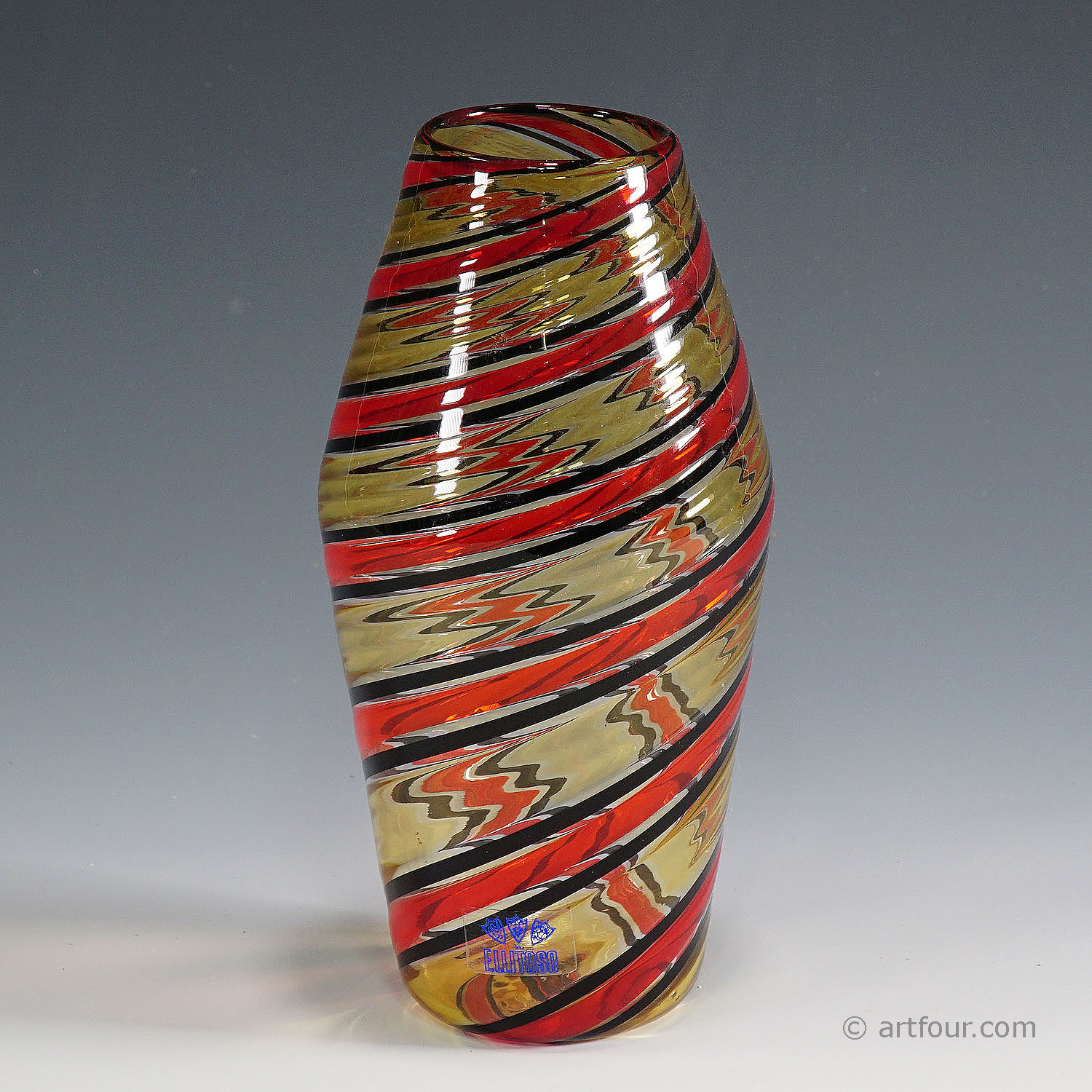 fratelli toso 'a canne' vase in red, yellow and black, murano, italy ca. 1965