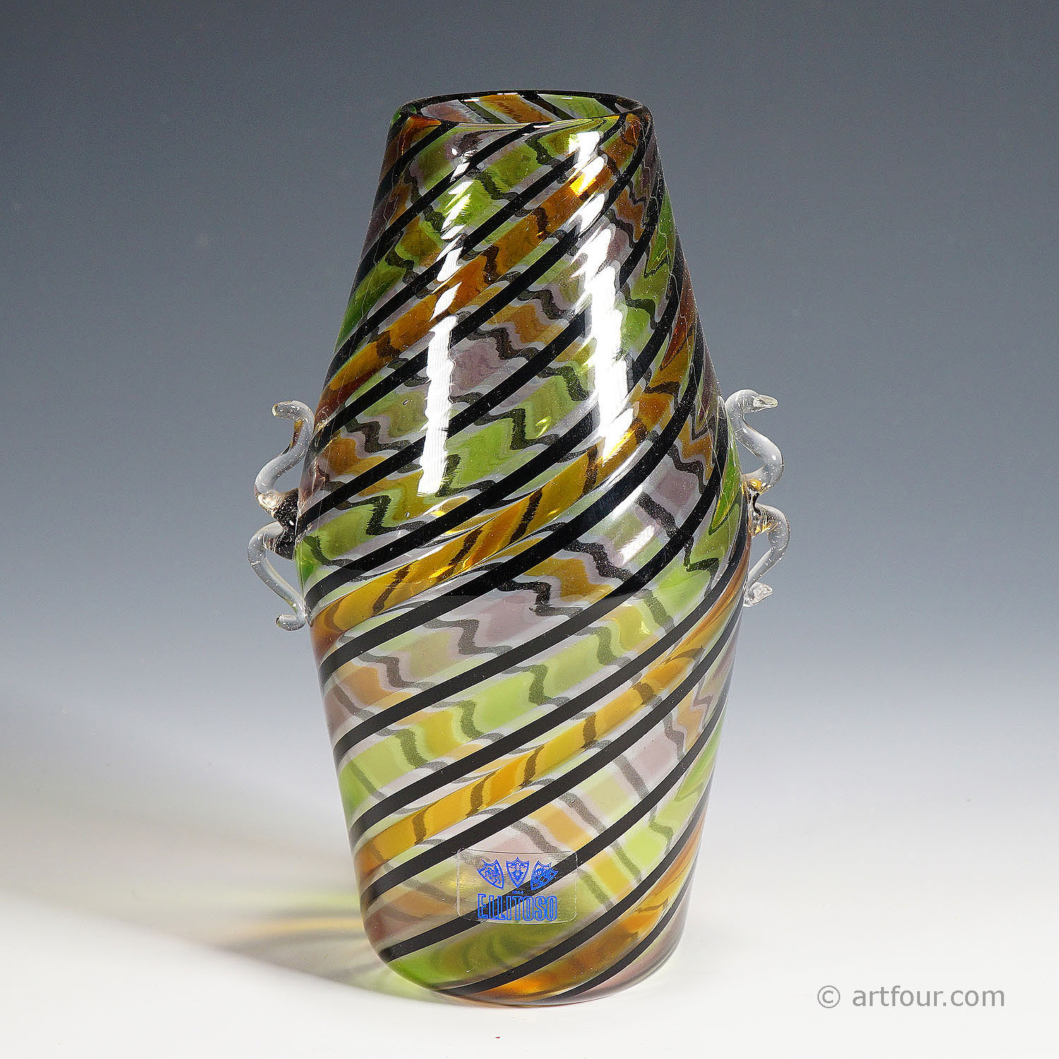 fratelli toso 'a canne' glass vase with handles, murano, italy ca. 1965