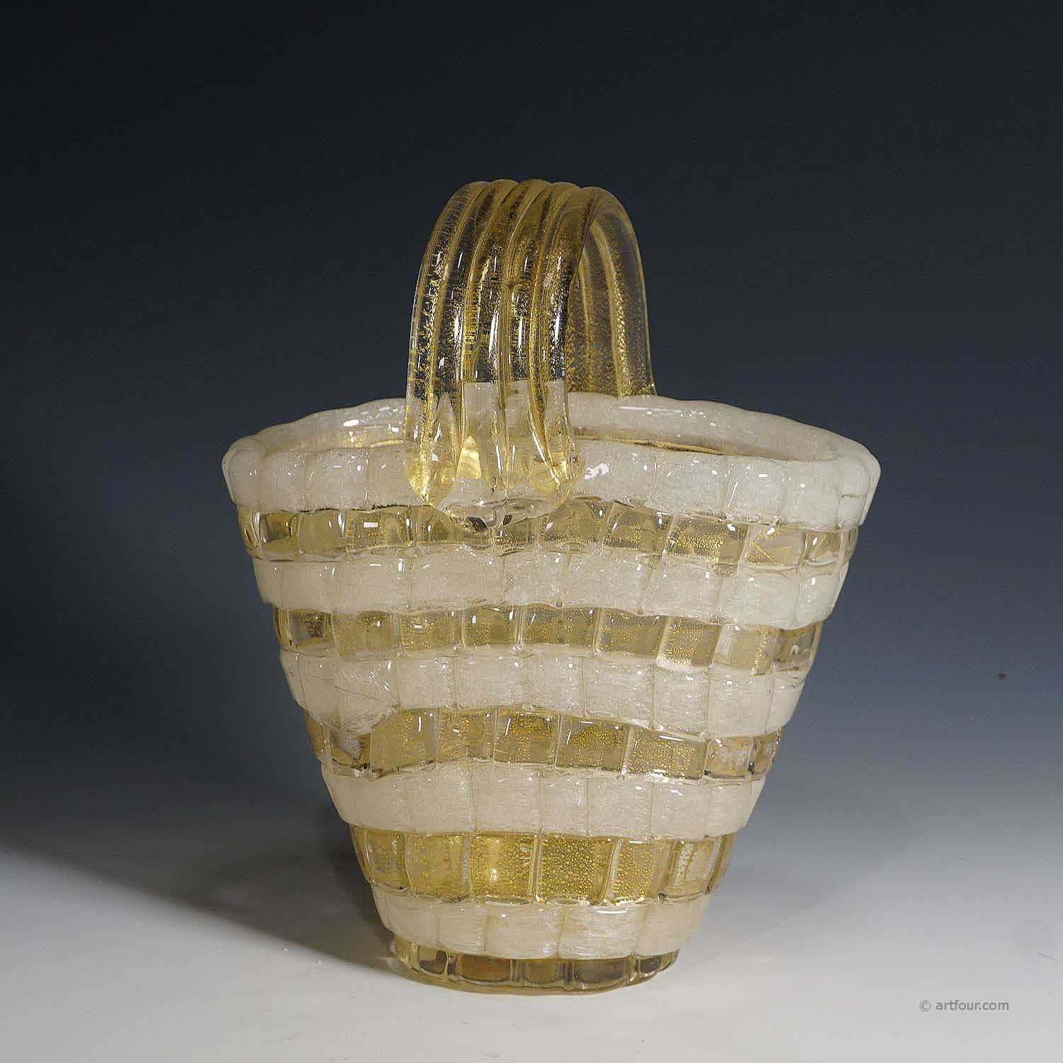 ercole barovier for barovier & toso attr. glass basket circa 1940ties