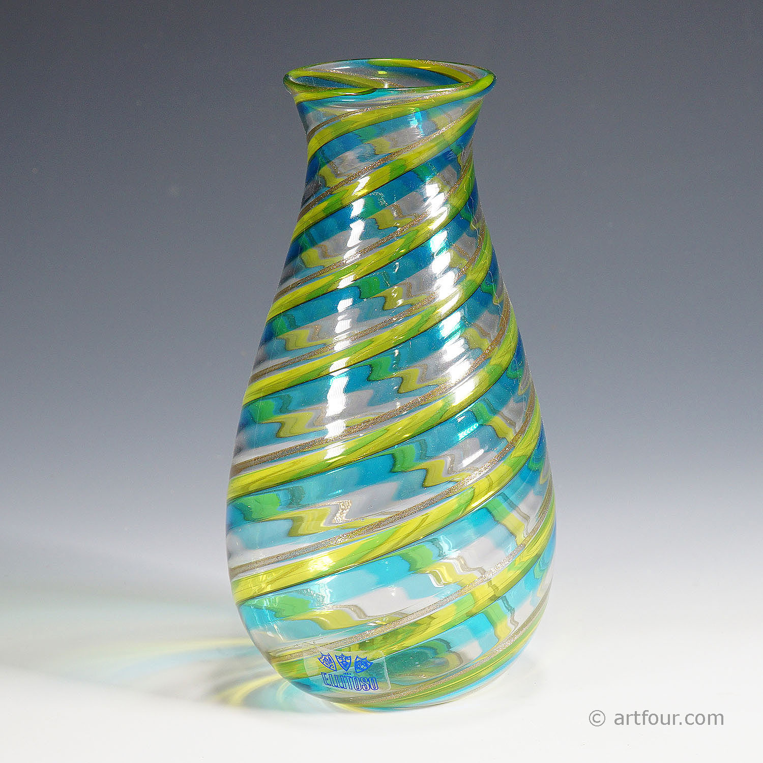 a fratelli toso 'a canne' vase with aventurin, murano, ca. 1965