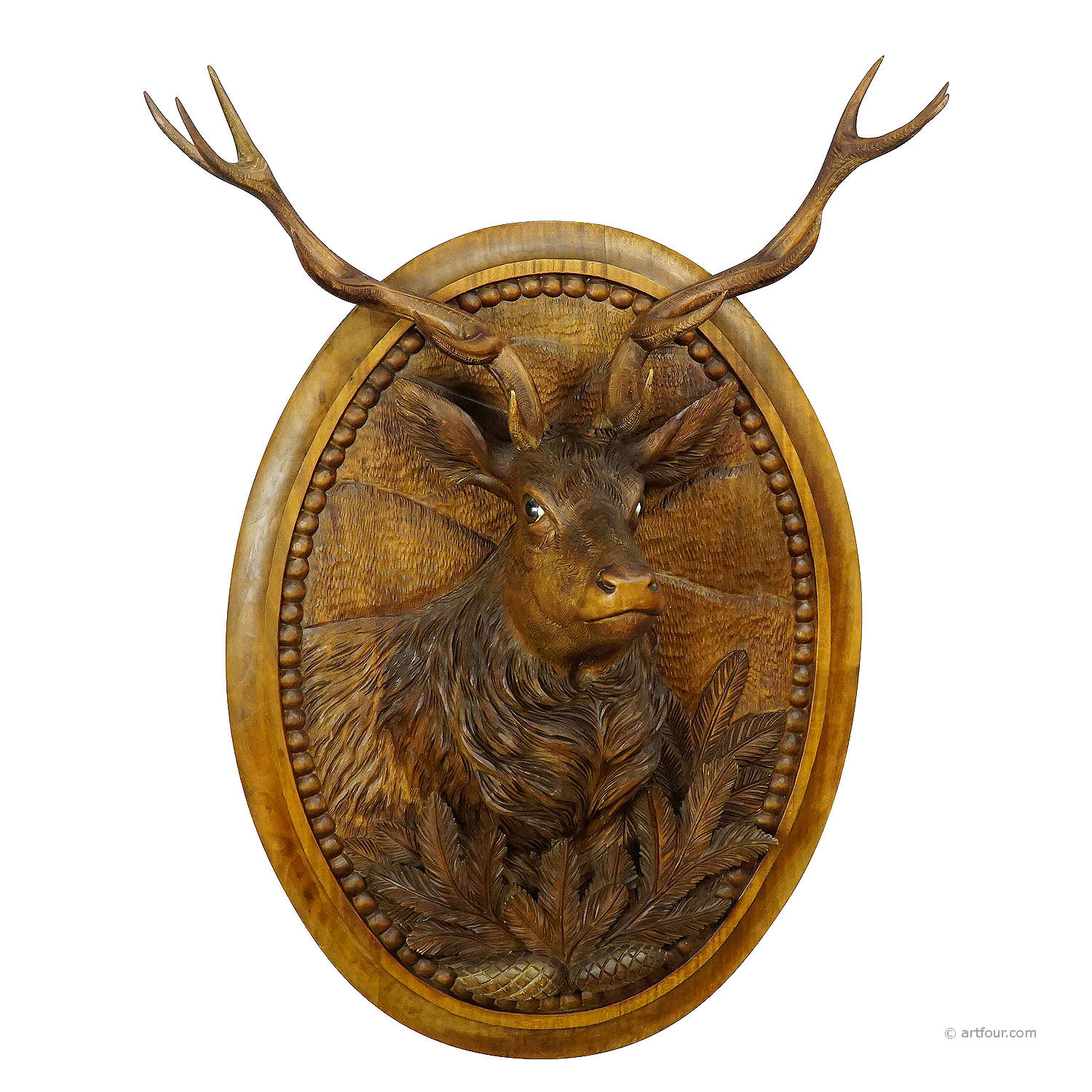 wooden carved black forest plaque with stag