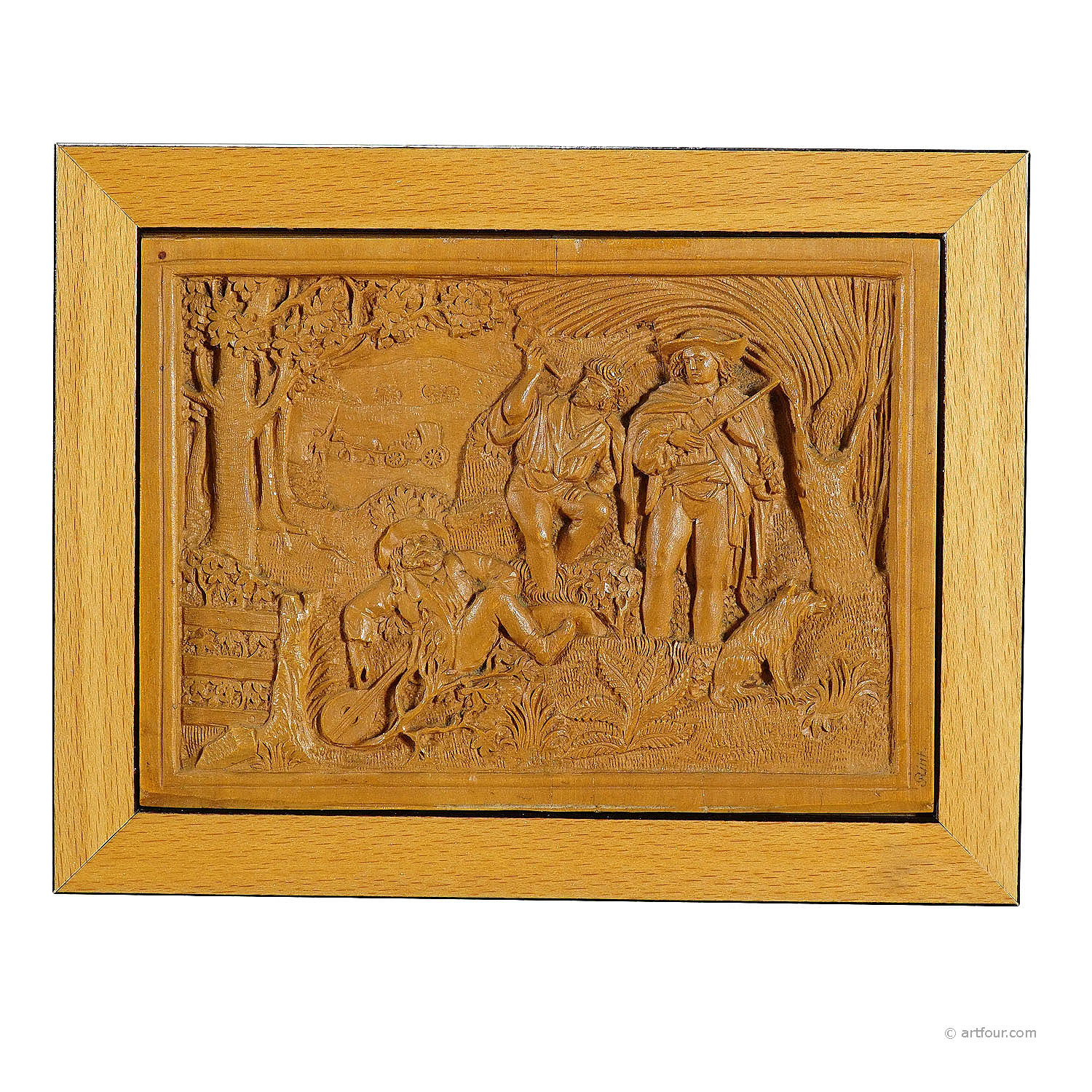 a wooden micro carving plaque by johann rint ca. 1880