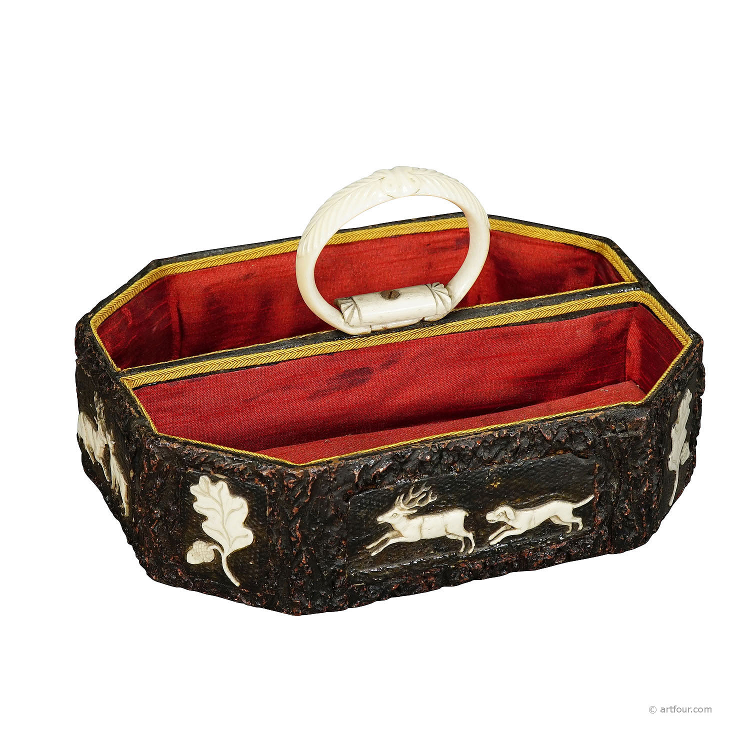 antique black forest basket with carved horn plaques, ca. 1860