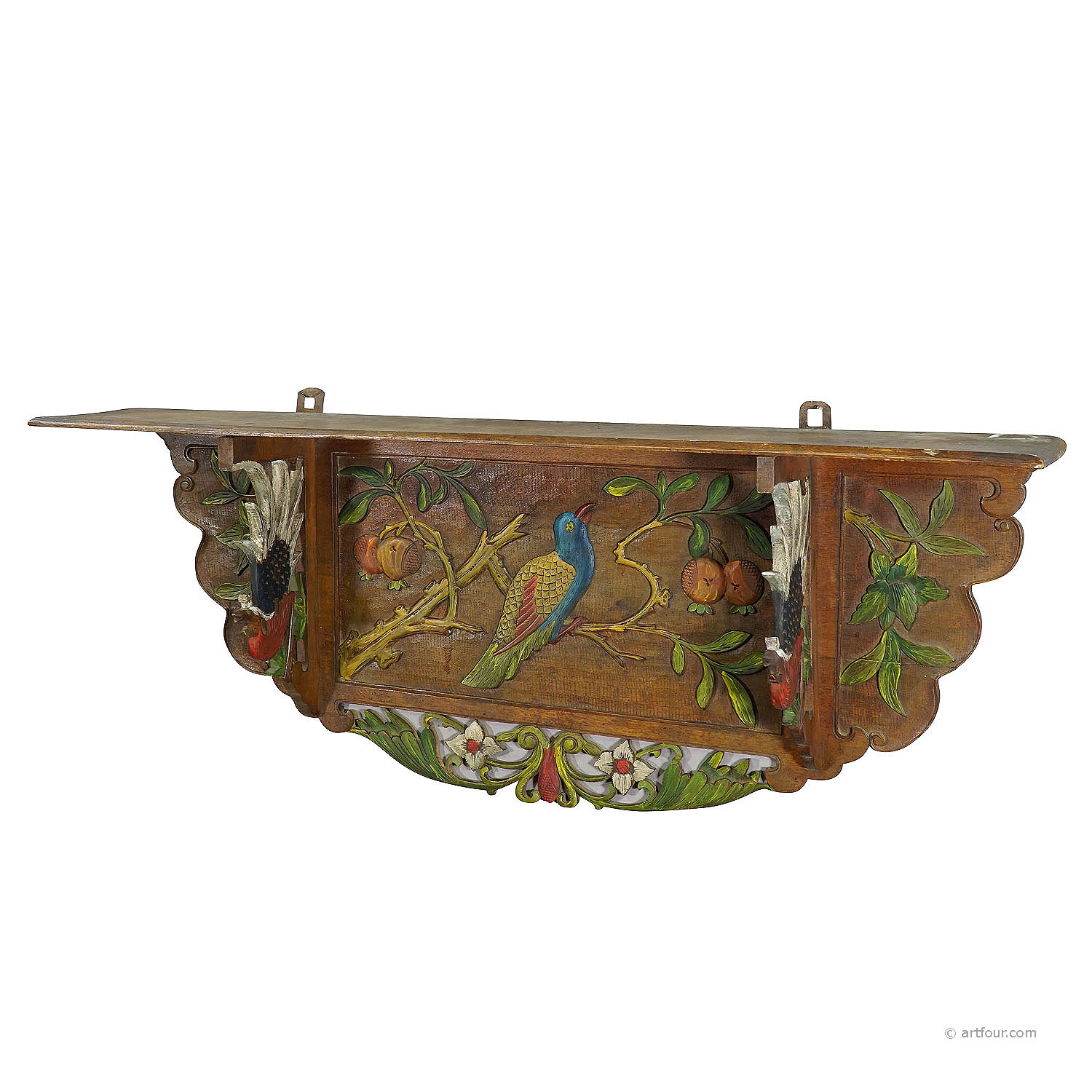 victorian wooden shelve with polycromic painted birds ca. 1920