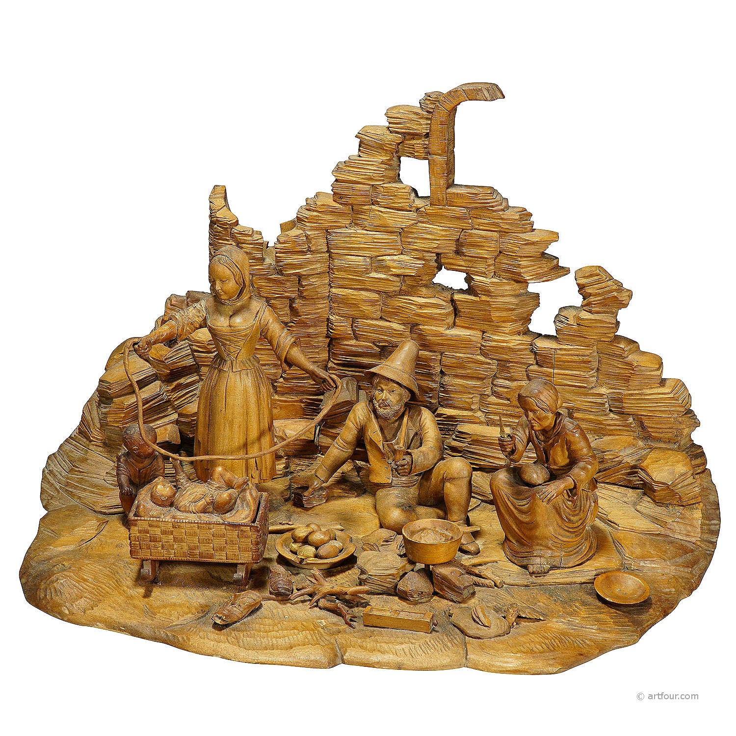 large carved diorama of a tyrolian family ca. 1900
