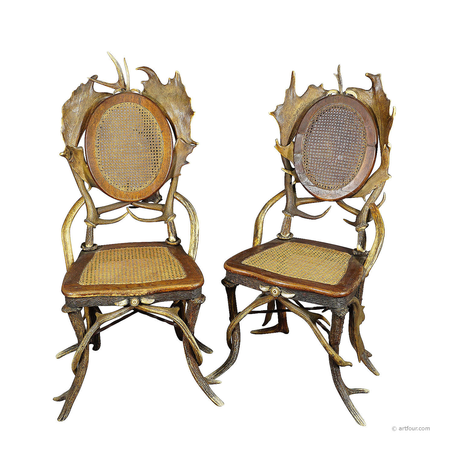 a pair antique rustic antler parlor chairs, germany ca. 1900