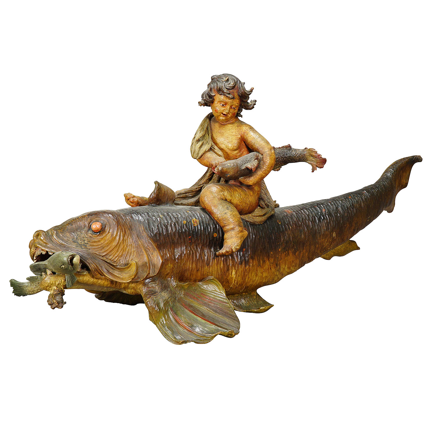 Outstanding wooden sculpture of a danube salmon, Austria ca. 1900