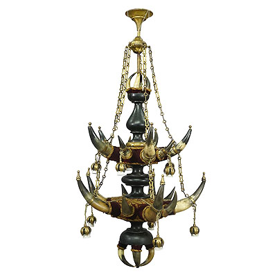 image of grandiose antique ceiling lamp with cattle horns 1880