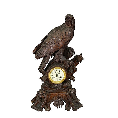 image of antique carved wood eagle table clock swiss 1900