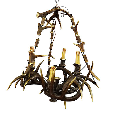 image of rustic black forest antler chandelier ca. 1900