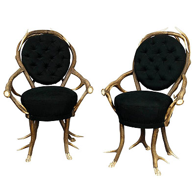 image of pair of rare antler parlor chairs, french ca. 1860