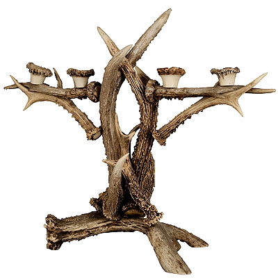 image of large antler candle holder ca. 1900