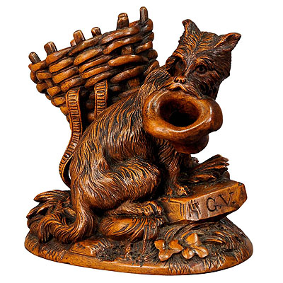 image of black forest carved begging dog - brienz ca. 1900