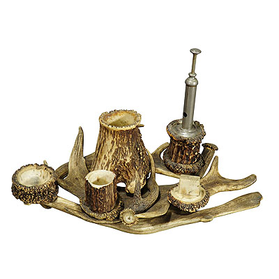 image of antique antler smoking desk set ca. 1900