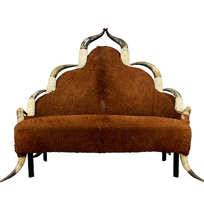 image of large antique sofa with long horn decoration, austria  ca. 1870